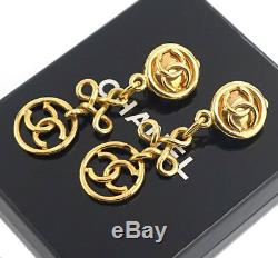 CHANEL CC Logos Dangle Earrings Gold Tone Vintage withBOX #2421