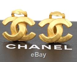 CHANEL CC Logos Earrings Gold Tone Clip-On Vintage withBOX #2420