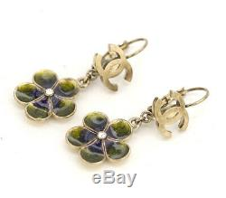 CHANEL CC Logos Flower Rhinestone Dangle Earrings Green 07A withBOX v1443