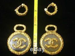 CHANEL CC Logos Gold & Lucite Dangle Earrings