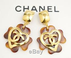 CHANEL CC Logos Heart Flower Dangle Earrings Brown Resin withBOX v1773