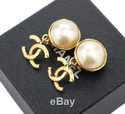 CHANEL CC Logos Pearl Dangle Earrings Gold Tone Vintage 95P withBOX