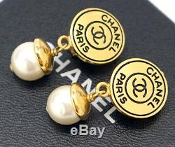 CHANEL CC Logos Pearl Dangle Earrings Gold Tone Vintage 97P withBOX #1802