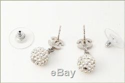 CHANEL CC Logos Rhinestone Ball Dangle Earrings Crystal & Silver withBOX v796