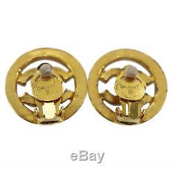 CHANEL CC Logos Rhinestone Earrings Clip-On Gold France Vintage Auth #Y247 M
