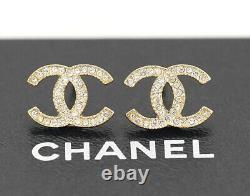 CHANEL CC Logos Rhinestone Stud Earrings Gold Tone A11A withBOX c910