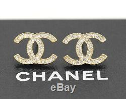 CHANEL CC Logos Rhinestone Stud Earrings Gold Tone withBOX
