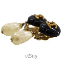 CHANEL CC Pearl Earrings Clip-On Gold Black 94 A France Vintage Authentic #CC226