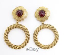 CHANEL CC Red Stones Hoop dangle Earrings Gold Clip-On V25 withBOX v857