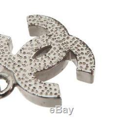 CHANEL CC Rhinestones Pendant Necklace Silver-Tone Authentic