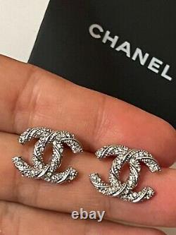CHANEL CC logo Silver tone Swirl Mini Earrings