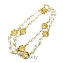 CHANEL Cambon Pearl Medallion CC Logos Necklace Pendant Authentic Gold-tone