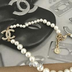 CHANEL Classic 100th Anniversary Edition Pearl Necklace with Golden CC Logo Pear