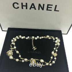 CHANEL Classic CC LOGO White Pearl Bronze 3CC Gold Necklace Classic 50Inch Chain