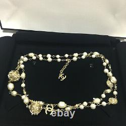 CHANEL Classic CC LOGO White Pearl Bronze 3 CC Gold Necklace Classic 50Inch Chai