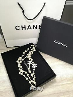 CHANEL Classic CC Logo Crystal Square Diamond Pale Gold Pearl 24 Long Necklace