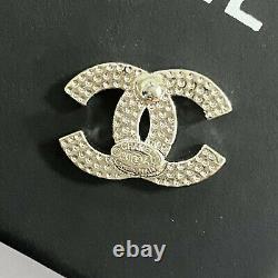 CHANEL Classic CC Logo Silver Stud Earrings Crystal Earrings