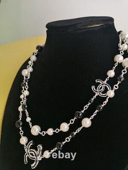 CHANEL Classic White/Black Pearl 2CC Logo Dangle Charm Pale Gold Chain Necklace