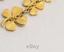 CHANEL Clover Drop Dangle Earrings Gold tone 96P withBOX #2451