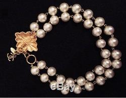 CHANEL Double Faux Pearl Strand Gold Choker Collar Necklace Teardrop Earrings