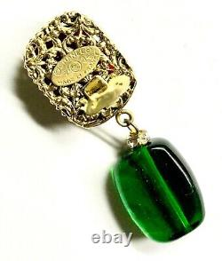 CHANEL Earrings CC Gripoix Strass Gold Red Green 1986 Dangles Clip Vintage