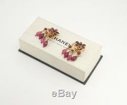 CHANEL Flower dangle Earrings Bordeaux Stone Gold Clips withBOX RARE v1268