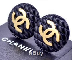 CHANEL HUGE Black Quilted Button Earrings Gold Tone Vintage withBOX a70