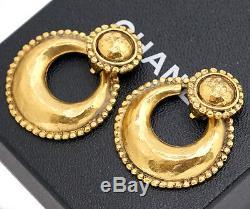 CHANEL Hoop 2 way Dangle Earrings Gold Clips 25 Vintage #1077