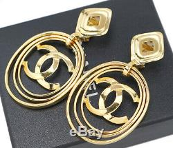 CHANEL Huge 3 Hoops CC Logos Dangle Earrings Clips 95P withBOX v1604