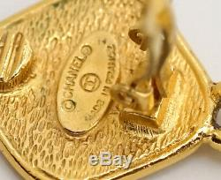 CHANEL Huge CC Logos Matelasse Dangle Earrings Gold Clips withBOX v1431
