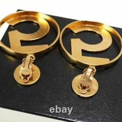 CHANEL Huge No. 5 Dangle Clip-On Earrings Gold-tone Extremely RARE d407