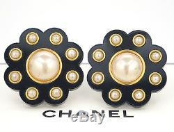 CHANEL Jumbo Camellia Pearl Earrings Black Resin 28 RARE withBOX #831