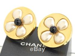 CHANEL Jumbo Flower Pearl Round Earrings Gold Tone Clip-On withBOX v1358