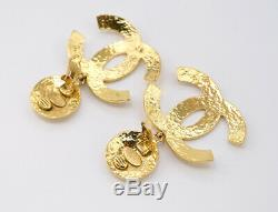CHANEL Large CC Logos Dangle Earrings Gold Tone Vintage 94P withBOX I6122