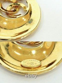 CHANEL Large CC Logos Necklace Pendant Authentic Gold-tone v1762