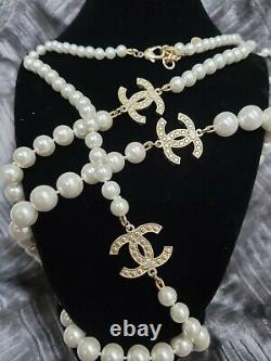 CHANEL Long Classic 3 CC Pearl Necklace