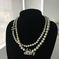 CHANEL Long Pearls Necklace Classic CC-logo Crystal Chain 42 NECKLACE