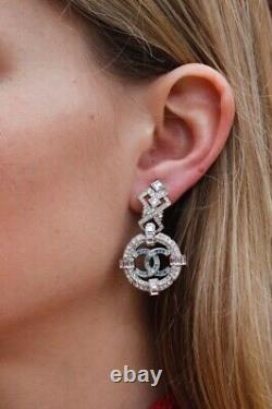 CHANEL Lovely drop clip on earrings with CC logo and rhinestones