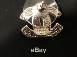 CHANEL Mini CC Logo Crystal Stud Earrings Silver & Rhinestone withBOX
