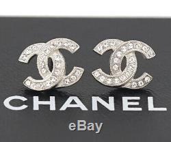 CHANEL Mini CC Logo Crystal Stud Earrings Silver & Rhinestone withBOX g3936