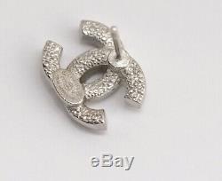 CHANEL Mini CC Logo Crystal Stud Earrings Silver & Rhinestone withBOX v1885
