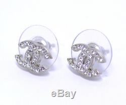 CHANEL Mini CC Logos Crystal Stud Earrings Silver 10V withBOX