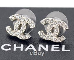 CHANEL Mini CC Logos Crystal Stud Earrings Silver & Rhinestone 07V withBOX v1904