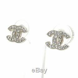 CHANEL Mini CC Logos Crystal Stud Earrings Silver & Rhinestone withBOX