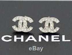 CHANEL Mini CC Logos Crystal Stud Earrings Silver withBOX