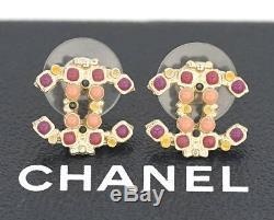 CHANEL Mini CC Logos Enamel Stud Earrings Gold Tone withBOX #1949