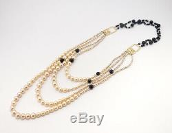 CHANEL Multi-Strand Pearl Long Necklace Gold Tone withBOX RARE