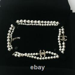 CHANEL NIB Classic Pearl 2CC Logo Crystal Chain 42 Pearl Necklace