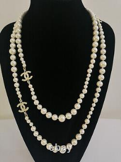 CHANEL NIB Gold Pearl Necklace 3 CC Logo Chain Classic Necklace Size 60