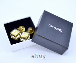 CHANEL No. 5 Lucite Cube Dangle Earrings Gold Clip-on Vintage 97P withBOX p7796